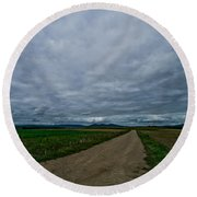 Lost In France Round Beach Towel