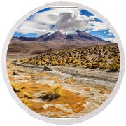 Lost In The Bolivian Desert Framed Round Beach Towel