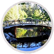 Lost Lagoon Bridge Round Beach Towel