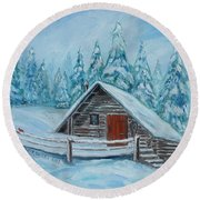 Lost Mountain Cabin Round Beach Towel