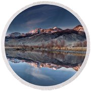 Lost River Mountains Winter Reflection Round Beach Towel