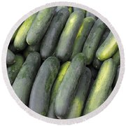 Lots Of Cucumbers For Sale Round Beach Towel