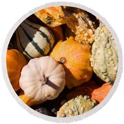 Lots Of Little Gourds Round Beach Towel