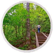 Lots Of Steps On La Chute Trail In Forillon Np-qc Round Beach Towel