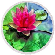 Lotus Blossom And Cloud Reflection Round Beach Towel