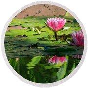 Lotus Flower Reflections Round Beach Towel