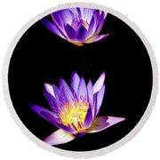 Lotus Flowers Round Beach Towel