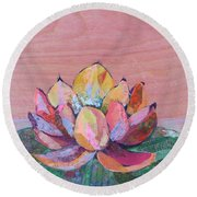 Lotus I Round Beach Towel
