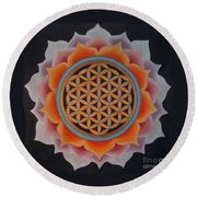 Lotus Of Life Round Beach Towel