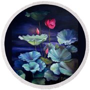 Lotus On Dark Water Round Beach Towel