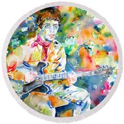 Lou Reed Playing The Guitar - Watercolor Portrait Round Beach Towel