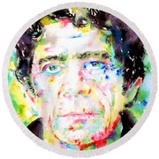 Lou Reed Watercolor Portrait.1 Round Beach Towel