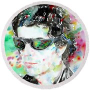 Lou Reed Watercolor Portrait.2 Round Beach Towel