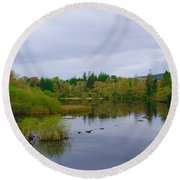 Lough Eske In The Morning Round Beach Towel