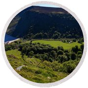 Lough Tay Below Luggala Mountain Round Beach Towel