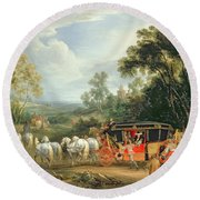 Louis Xiv In His State Coach Round Beach Towel