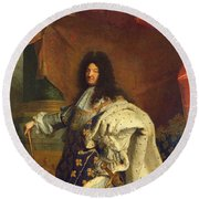 Louis Xiv In Royal Costume, 1701 Oil On Canvas Detail Of 59867 Round Beach Towel