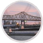 Louisiana Baton Rouge River Commerce Round Beach Towel