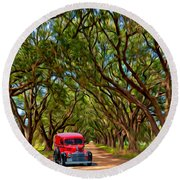 Louisiana Dream Drive  Round Beach Towel