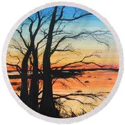 Louisiana Lacassine Nwr Treescape Round Beach Towel
