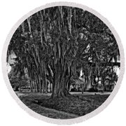 Louisiana Moon Rising Monochrome  Round Beach Towel