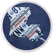 Louisiana State License Plate Map Round Beach Towel by Design Turnpike