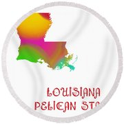 Louisiana State Map Collection 2 Round Beach Towel