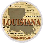 Louisiana State Pride Map Silhouette  Round Beach Towel