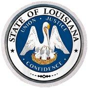 Louisiana State Seal Round Beach Towel