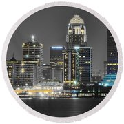 Louisville Lights Up Round Beach Towel