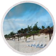 Lounge Chairs And Parasol On Pink Sands Round Beach Towel