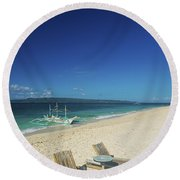 Lounge Chairs And Traditional Boat On Puka Beach In Boracay Phil Round Beach Towel