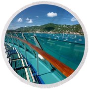 Lounge Chairs On Cruise Ship Round Beach Towel