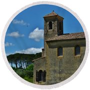 Lourmarin Castle Round Beach Towel