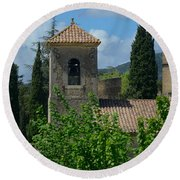 Lourmarin Castle In Provence Round Beach Towel