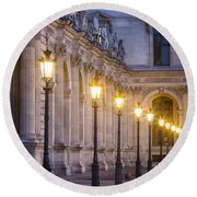 Louvre Lampposts Round Beach Towel