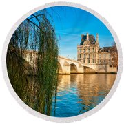 Louvre Museum And Pont Royal - Paris - France Round Beach Towel
