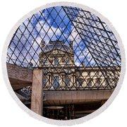 Louvre Museum Paris France Round Beach Towel