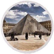 Louvre Museum - Paris Round Beach Towel