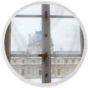 Louvre Museum Viewed Through A Window Round Beach Towel by Panoramic Images