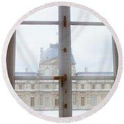 Louvre Museum Viewed Through A Window Round Beach Towel