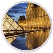 Louvre Reflections Round Beach Towel by Brian Jannsen