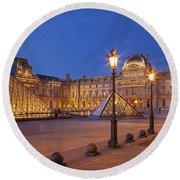 Louvre Twilight Round Beach Towel