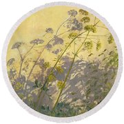 Lovage Clematis And Shadows Round Beach Towel