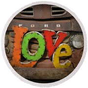 Love And A Ford Truck Round Beach Towel