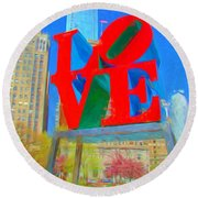 Love And Cherry Blossoms Round Beach Towel