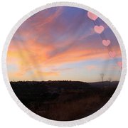 Love And Sunset Round Beach Towel by Augusta Stylianou