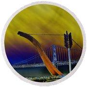 Love At Cupid's Span San Francisco Bay Bridge Round Beach Towel