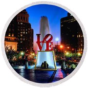Love At Night Round Beach Towel