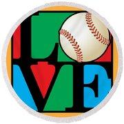 Love Baseball Round Beach Towel